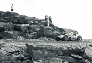 Carroll Shelby racing a Ferrari in 1956