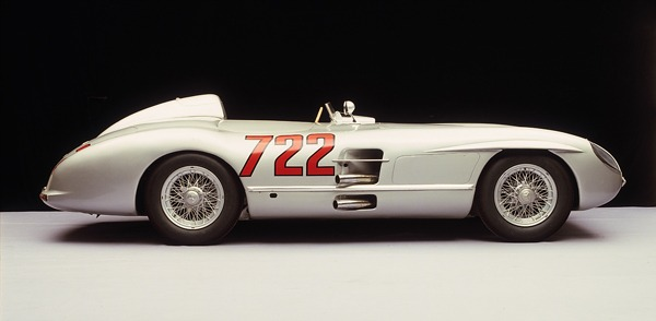 """The car that won the 1955 Mille Miglia in record-breaking time, driven by Stirling Moss and Denis Jenkinson: the Mercedes-Benz 300 SLR """"722"""""""